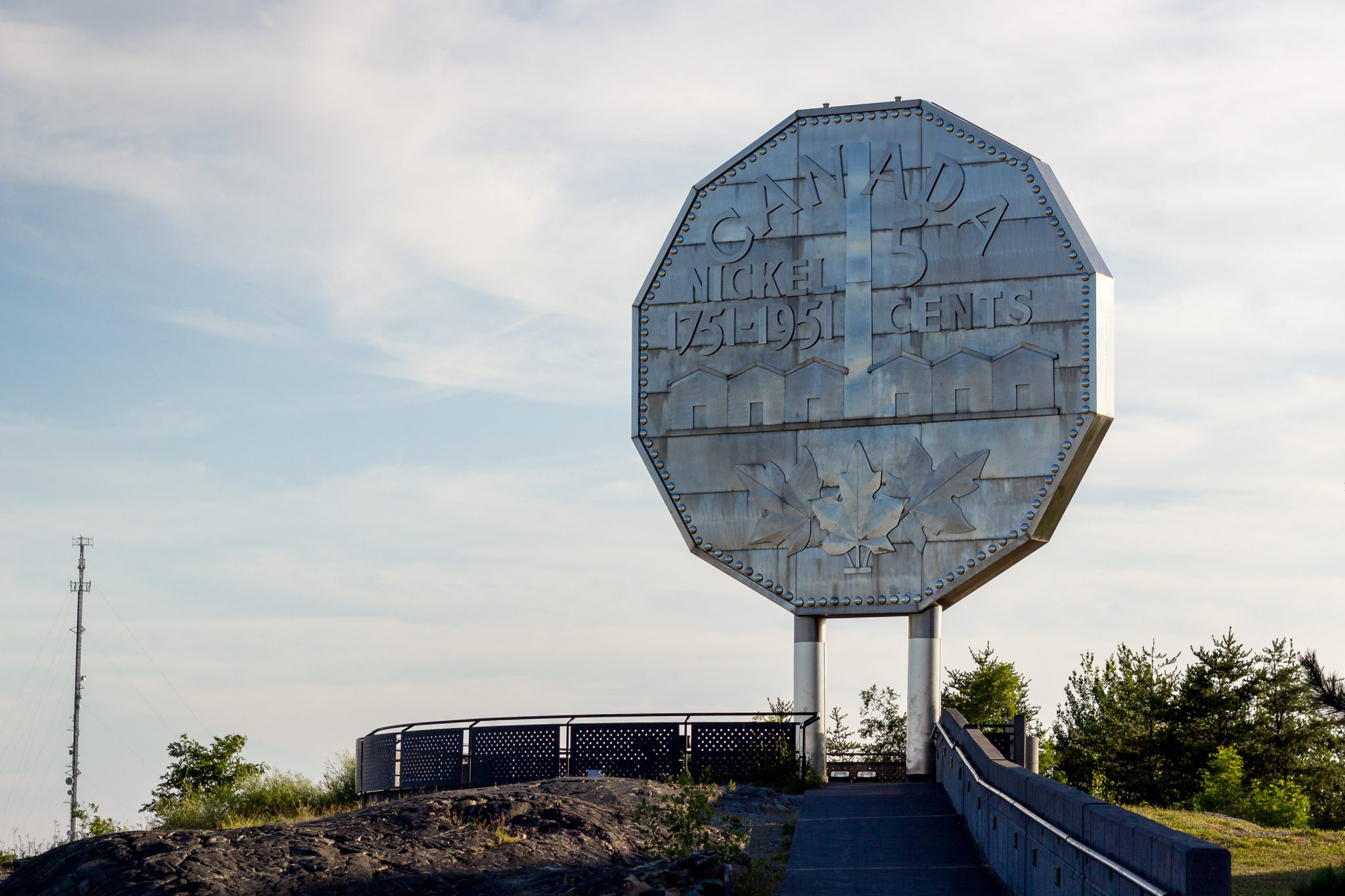 An image of The Big Nickel, a nine-metre (30 ft) replica of a 1951 Canadian nickel, located at the grounds of the Dynamic Earth science museum in Sudbury, Ontario.
