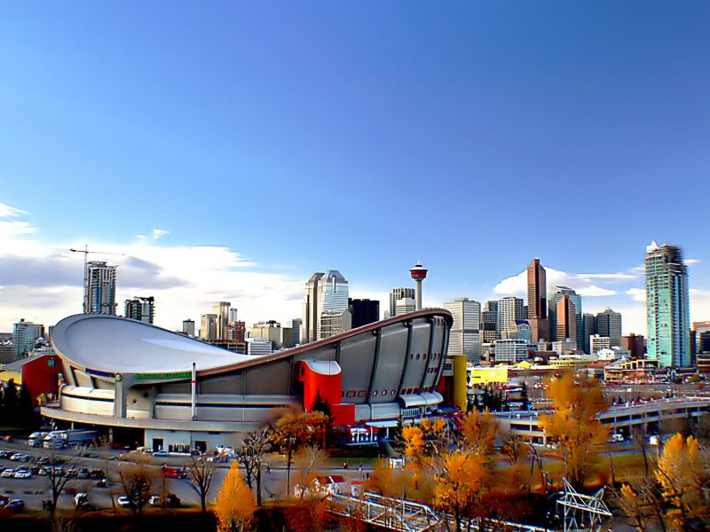 Stadium, buildings, and towers in Calgary.