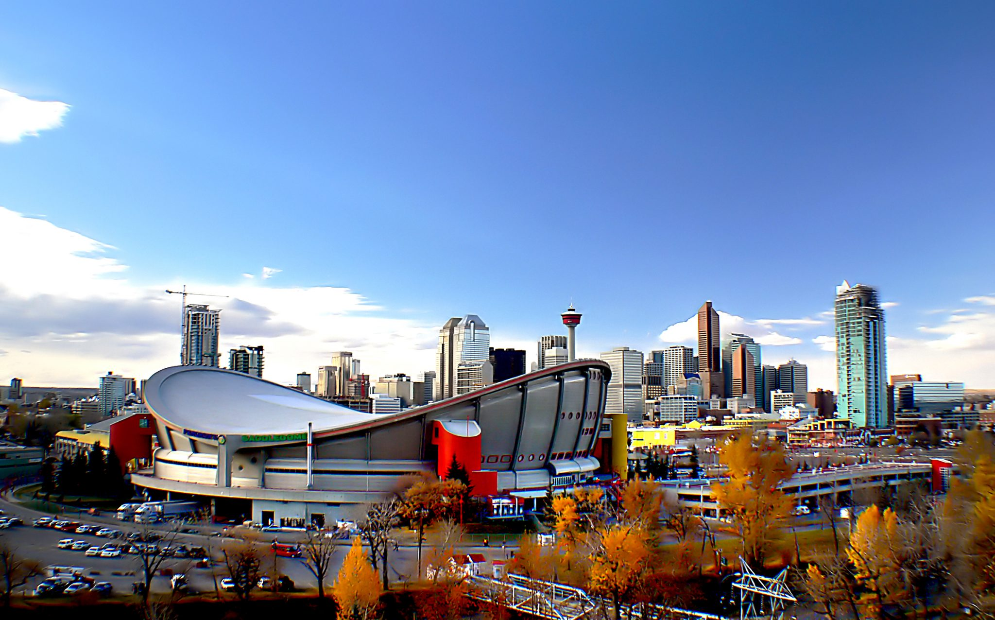 Stadium, buildings, and towers in Calgary.