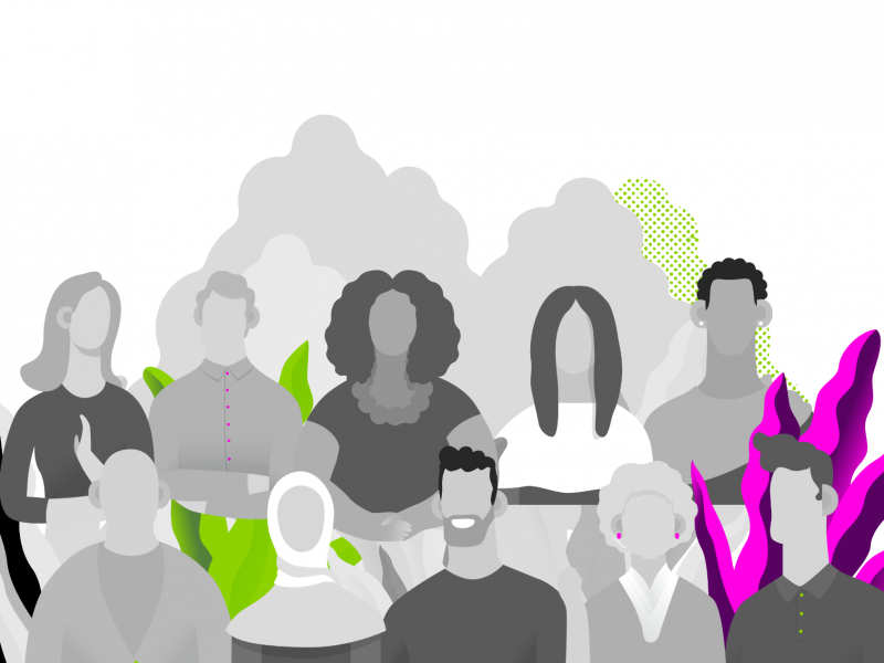 Illustration of diverse group of individuals.