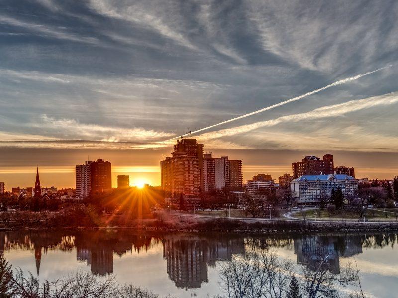 Saskatoon, Saskatchewan city view.