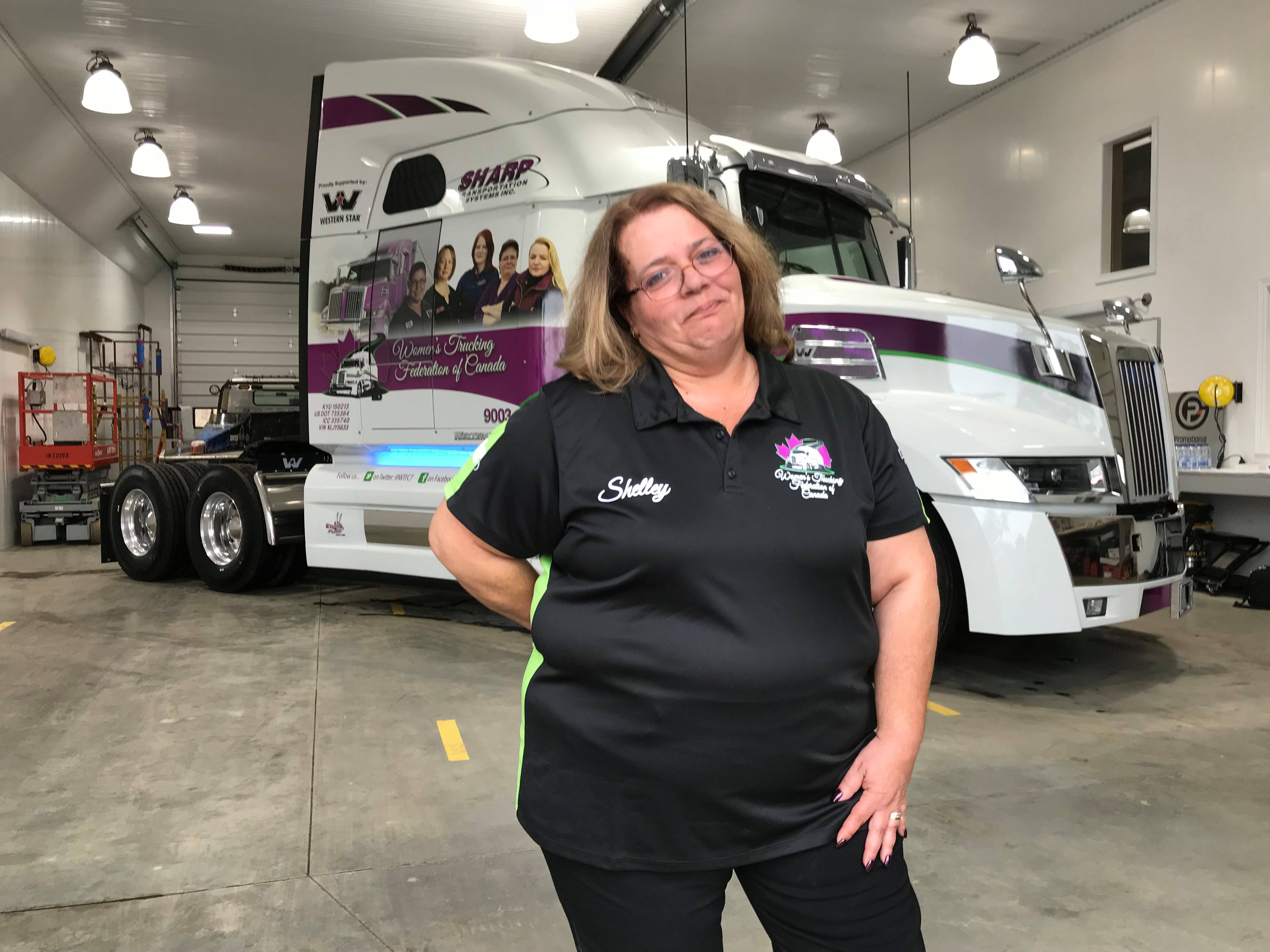 Shelley Uvanile-Hesch with her truck in the background
