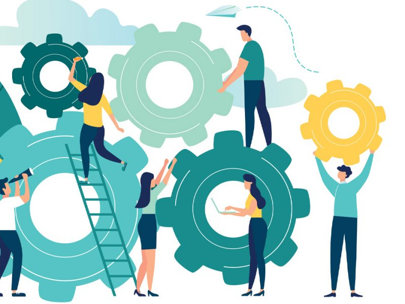 Illustration of a group of people working on gears