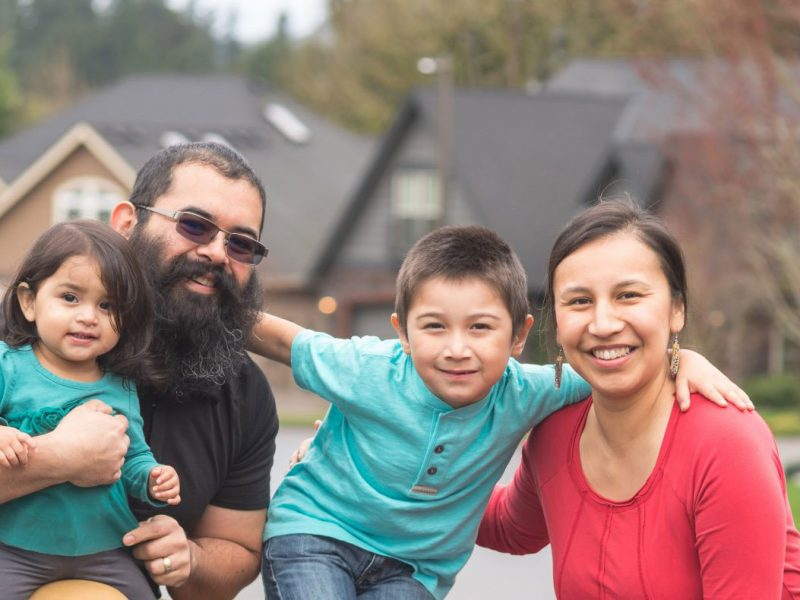 Family of indigenous Canadians