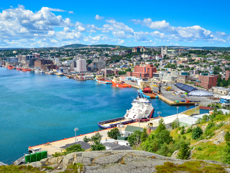 Panoramic view, St John's Harbour in Newfoundland Canada.