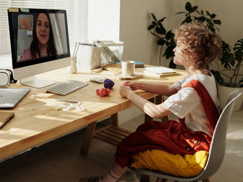 Young student video conferencing his teacher through a computer