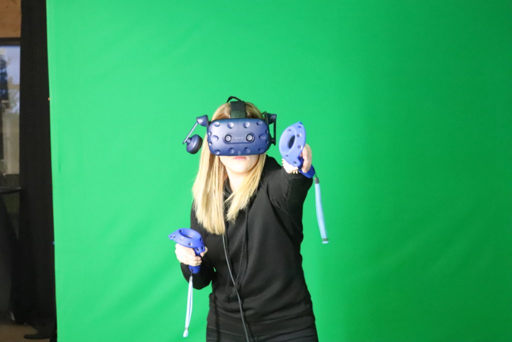 Young woman with virtual reality headset.