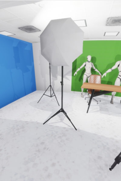 A classroom with XR and virtual reality equipment.