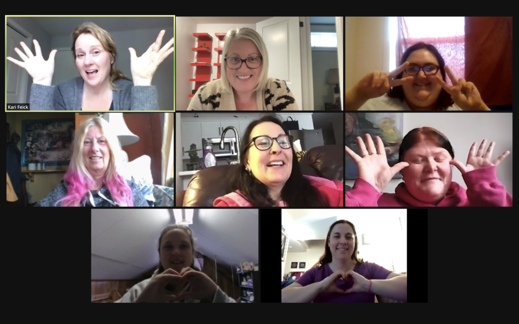 In motion and momentum participants on a Zoom call