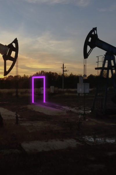 oil rigs with glow