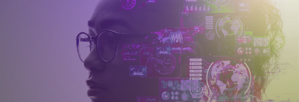 Graphic of woman with artificial intelligence concept overlay
