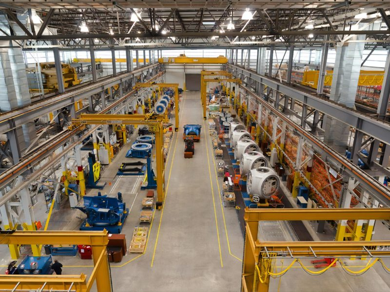 Aerial view of the inside of a manufacturing warehouse
